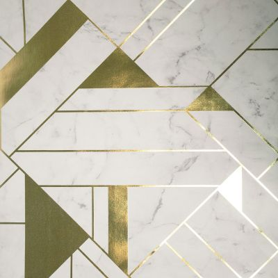 Crown Luxe Mayfair Islington Geometric Wallpaper Gold / White M1468