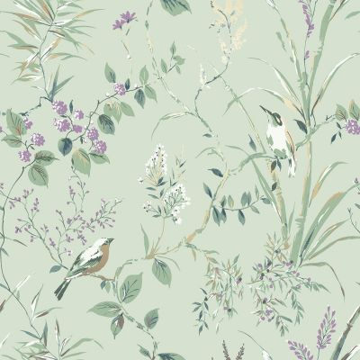 Mariko Bird Floral Wallpaper Green Crown M1552