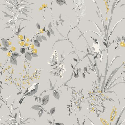 Mariko Bird Floral Wallpaper Grey Crown M1551