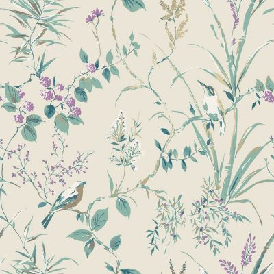 Mariko Bird Floral Wallpaper Natural Crown M1554