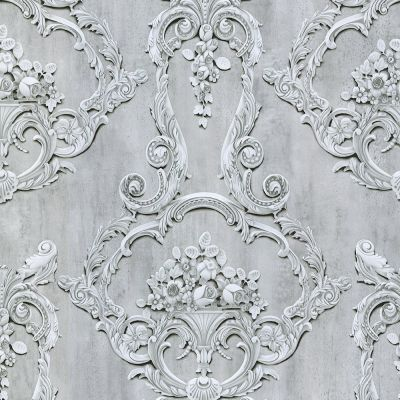 Grosvenor 3D Effect Floral Damask Wallpaper Anthracite Debona 6215