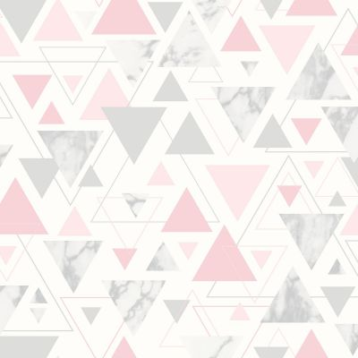 Marblesque Geometric Marble Wallpaper Blush Pink and Rose Gold - Fine Decor FD42303