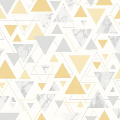 Chantilly Geometric Marble Triangle Wallpaper Yellow / Grey Debona 5014