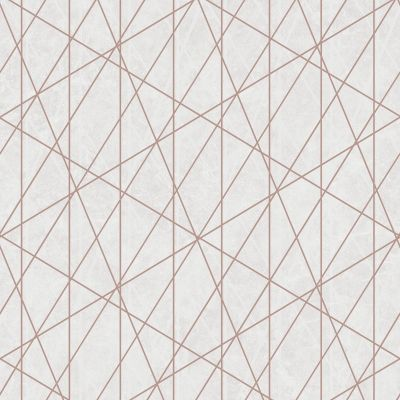 Laser Glitter Geometric Wallpaper Cream / Rose Gold Debona 2479