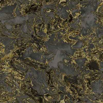 Liquid Marble Wallpaper Black / Gold Debona 6357