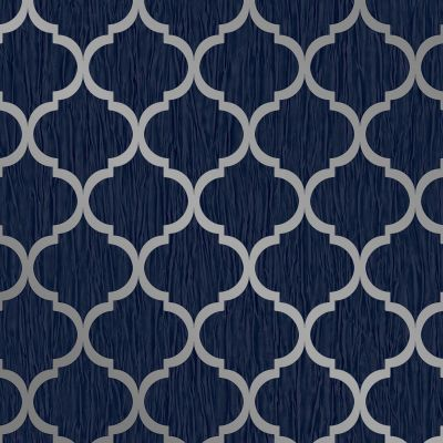 Crystal Trellis Wallpaper Blue / Silver Debona 8894