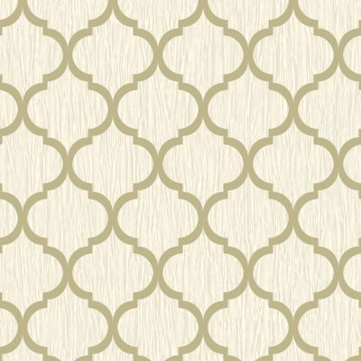 Crystal Trellis Wallpaper Ivory / Gold Debona 8898
