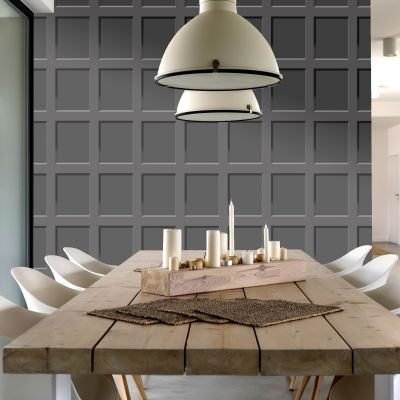 Heritage Wood Panel Wallpaper Charcoal Debona 6743