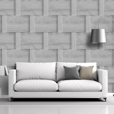 Harrow Weave Wood Panel Wallpaper Grey Debona 6739