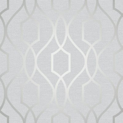 Apex Geometric Trellis Wallpaper Stone and Silver Fine Decor FD41995