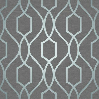 Apex Geometric Trellis Wallpaper Slate Grey and Blue Fine Decor FD41996