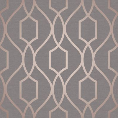 Apex Geometric Trellis Wallpaper Charcoal Grey and Copper Fine Decor FD41998