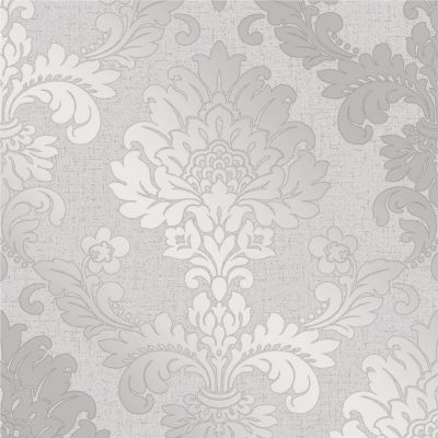Quartz Damask Wallpaper Silver Fine Decor FD41965