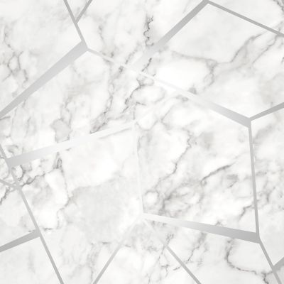 Fractal Geometric Marble Wallpaper Silver - Fine Decor FD42263