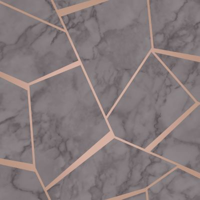 Charcoal Grey and Copper Fractal Geometric Marble Wallpaper - Fine Decor FD42266