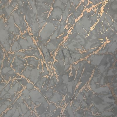 Metallic Marble Wallpaper Charcoal and Copper Fine Decor FD42267