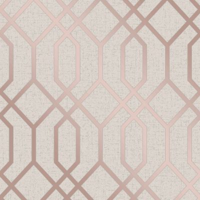Quartz Trellis Geometric Wallpaper Gold Fine Decor FD42305
