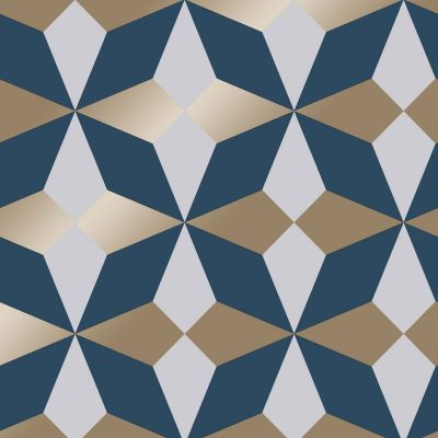 Nova Geometric Wallpaper Navy / Gold Fine Decor FD42548