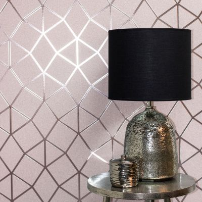 Blush Pink Rose Gold Platinum Geo Trellis Texture Wallpaper Fine Decor FD42561