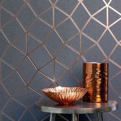 Platinum Geo Trellis Texture Wallpaper Charcoal Grey / Copper Fine Decor FD42490