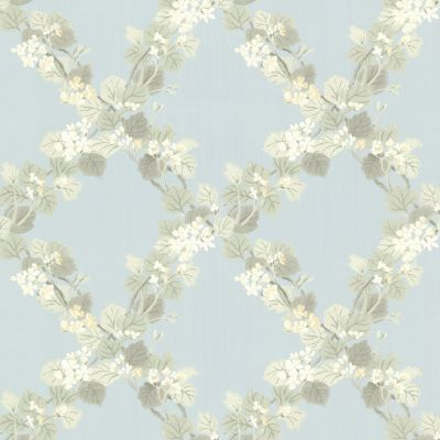 Claremont Jasmine Floral Trellis Wallpaper Blue Fine Decor FD68757