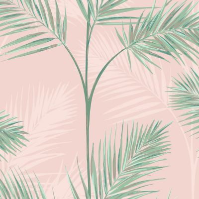 Fine Decor Palm Leaf Wallpaper Blush Pink South Beach FD42680