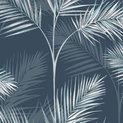 South Beach Palm Leaf Wallpaper Navy Blue Fine Decor FD42681