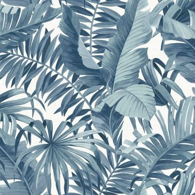 A-Street Prints Solstice Palm Leaf Wallpaper Blue Fine Decor FD24133