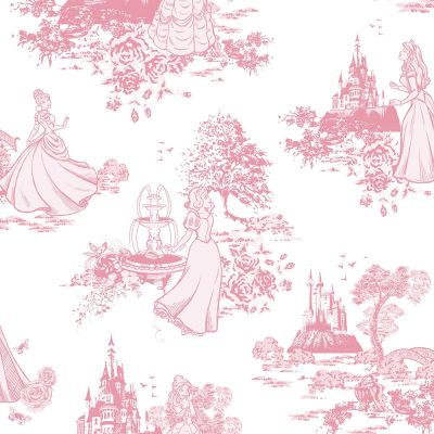 Disney Princess Pink and White Toile Wallpaper Graham & Brown 70-233