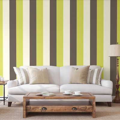 Stripe Wallpaper Chocolate, Lime and Cream - Direct Wallpapers E40904