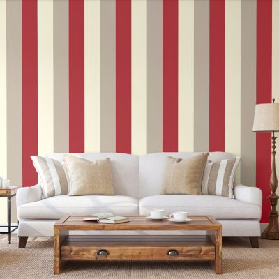 Stripe Wallpaper Red, Cream and Grey - Direct Wallpapers E40910