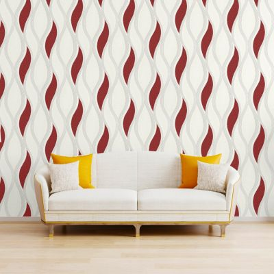 Wave Embossed Textured Wallpaper Red - Direct Wallpapers E62010