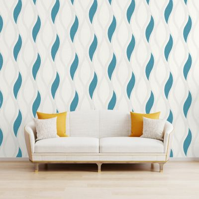 Wave Embossed Textured Wallpaper Turquoise - Direct Wallpapers E62001