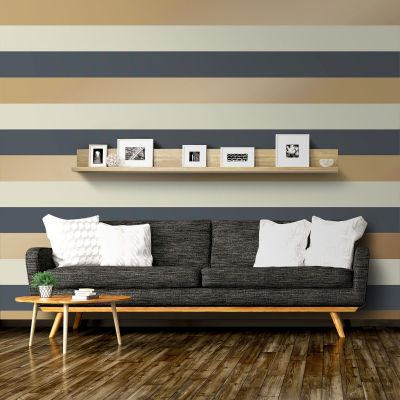 Navy and Gold Stripe Wallpaper Direct Wallpapers E40941