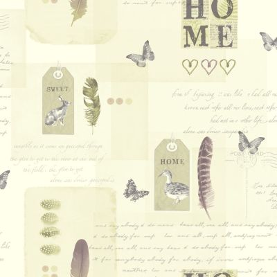 Neutral and Grey Lomond Vintage Collage Wallpaper  - Arthouse 256201