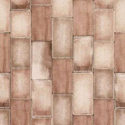 Leather Tile Effect Wallpaper Brown Rasch 475821