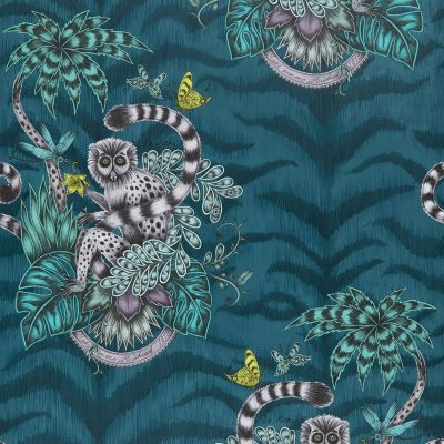 Emma J Shipley Animalia Lemur Wallpaper Navy W0103/03