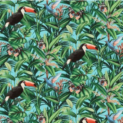 Paradisio 2 Jungle Birds Wallpaper Blue Erismann 10121-18
