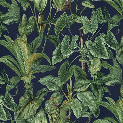 Paradisio Tropical Leaves Wallpaper Navy Erismann 6303-08