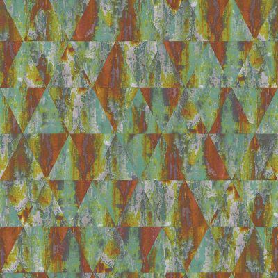 Grunge Collection Rusty Triangles Wallpaper Green and Rust Galerie G45336