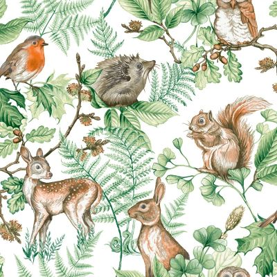 Woodland Animals Wallpaper Natural Graham & Brown 108569