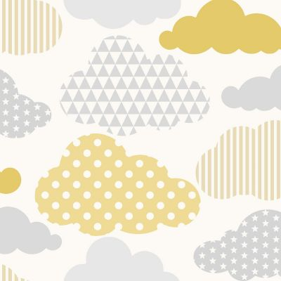 Clouds Wallpaper Yellow / Grey Graham & Brown 108267