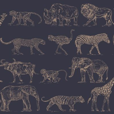 Boutique Safari Animals Wallpaper Navy Blue / Rose Gold Graham & Brown 104893