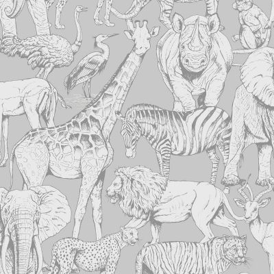 Jungle Animals Wallpaper Grey Graham & Brown 108567