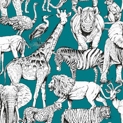 Jungle Animals Wallpaper Green Graham & Brown 107692