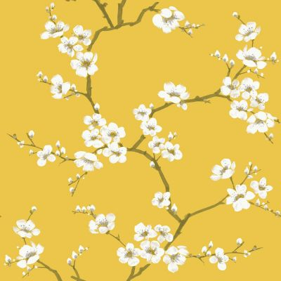 Fresco Apple Blossom Wallpaper Ochre Graham & Brown 108289