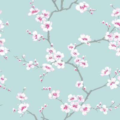Fresco Apple Blossom Wallpaper Teal Graham & Brown 51-066