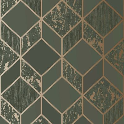 Superfresco Vittorio Geo Wallpaper Charcoal / Rose Gold Graham & Brown 107693