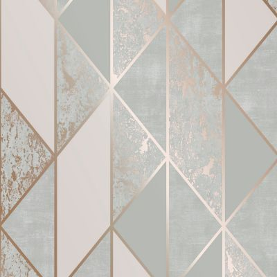 Superfresco Milan Geo Wallpaper Grey / Rose Gold Graham & Brown 106407
