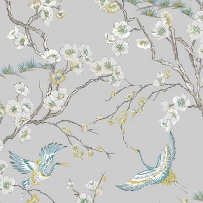 Sublime Japan Cranes Wallpaper Grey Graham & Brown 106565